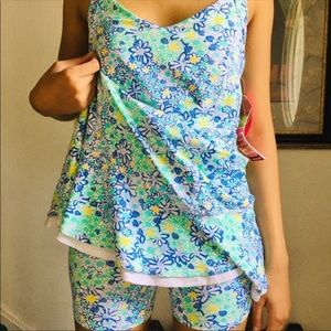 Lily Pulitzer floral blue and green swimsuit NWT